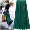Silver Gold Pleated Skirt Womens Vintage High Waist Skirt 18 Winter Long Warm Skirts New Fashion Metallic Skirt Female