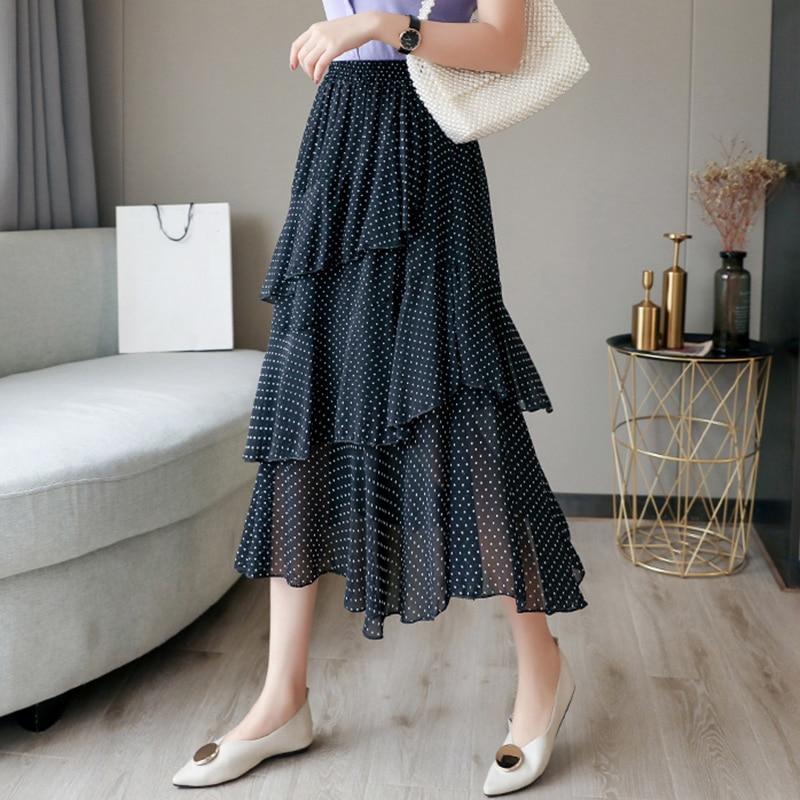 Jinsen Aite Plus Size 4XL Women Chiffon Skirt Dot Ruffles Maxi Skirts Beach Bohemian Skirts Vintage Elegant Faldas Saia JS491 2