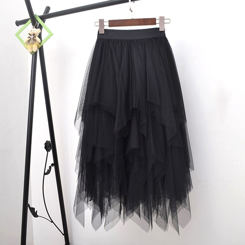 Long Tulle Skirt Women Fashion High Waist Irregular Hem Mesh Tutu Skirt 17 Summer Beach Skirt Ball Gown Ladies 3