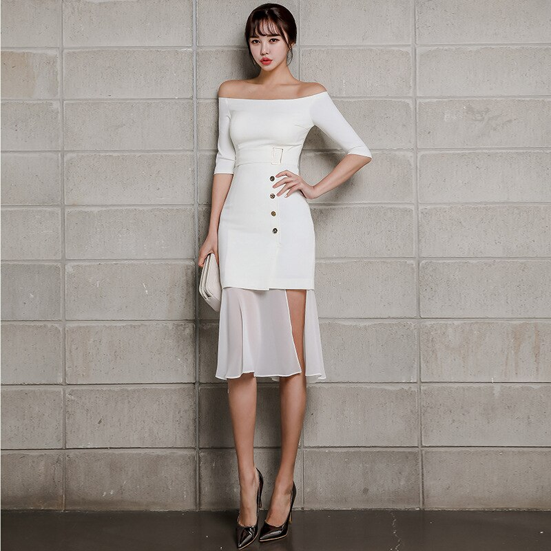 Summer Women Mermaid Dress 19 Plus Size White Half Sleeve Slash Neck Button Vintage Elegant Dress Chiffon Midi Dresses Elbise 3