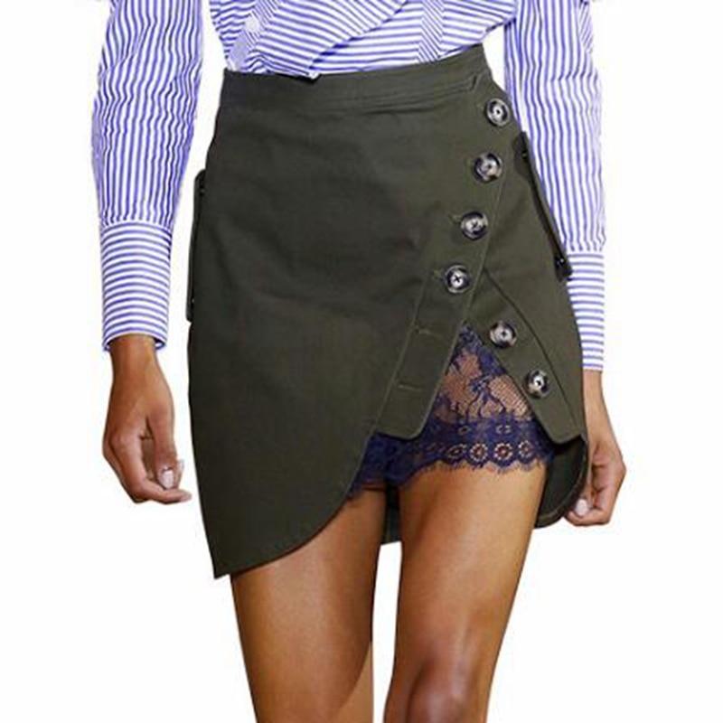 Self Portrait High Waist Mini Skirt 19 Summer Women Button Lace Patchwork Skirts 1