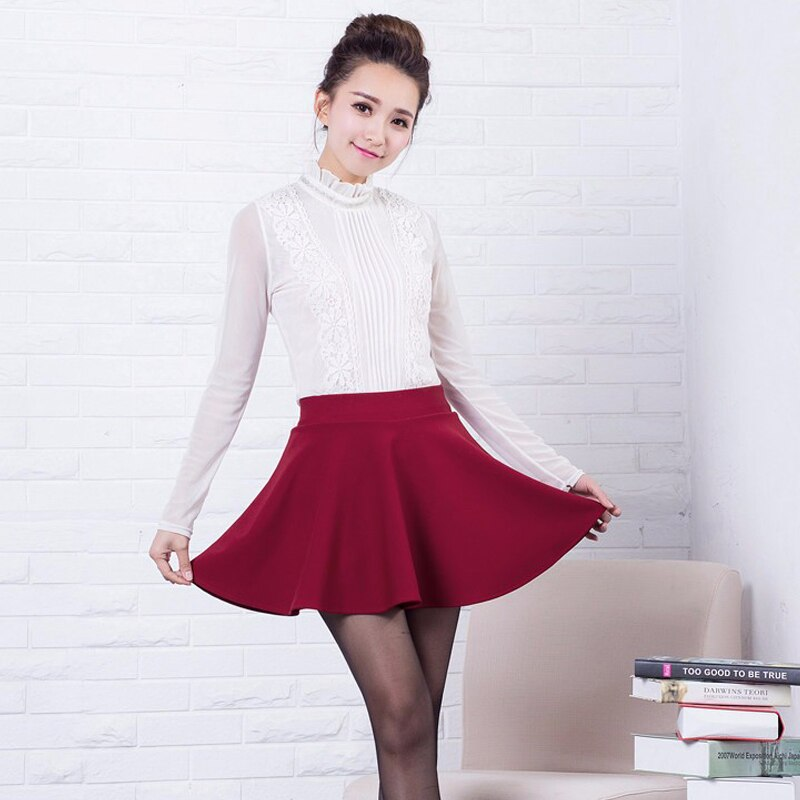 RealShe Women Autumn Pleated Skirt Casual High Waist Short Tutu Skirts Womens Saia Mini 18 Jupe Femme Skirt 3