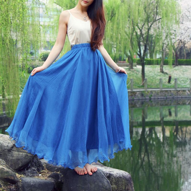 Bohemian Chiffon Beach Skirts Womens High Waist Pleated Long Skirt Ladies Casual Maxi Skirts Saia Faldas Color Blue Green Red 1