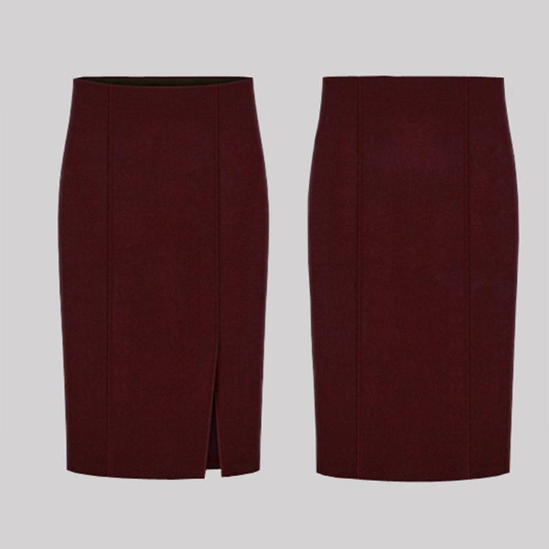 17 Autumn Winter Fashion Women Pencil Skirts Sexy Cotton and Wool Knit Slim High Waist Knee-Length Skirt Jupe Femme Female 50 3