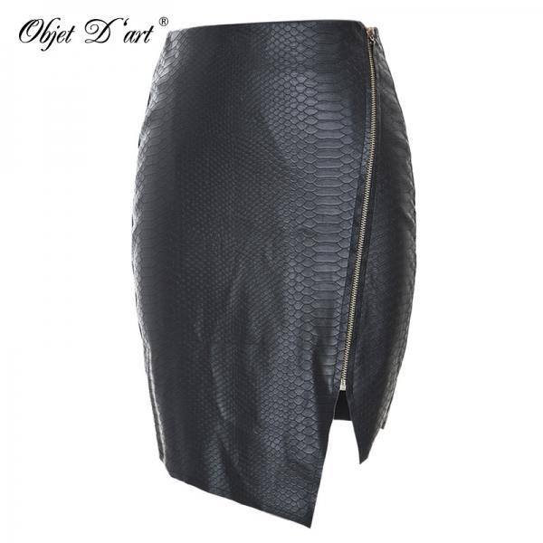 Fashion Women Zipper Up Faux Snake Skin Leather Skirt Polyester Lining Sexy Asymmetrical PU Mini Skirt High Quality For 4 Season