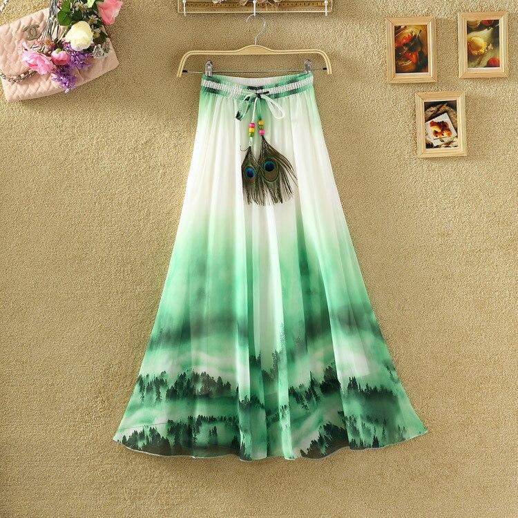 Uwback Max Skirt Women 18 New Summer Chiffon Skirts Woman Pleated Print Boho Elastic Waist Women Causal Saias Mujer TB1396 3