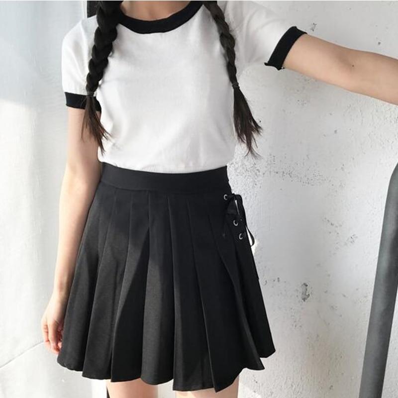Summer New Fashion Solid Denim Pleated Skirt Harajuku Lace-Up Hight Waist Casual Sexy Micro Mini Short School Skirts Women 2