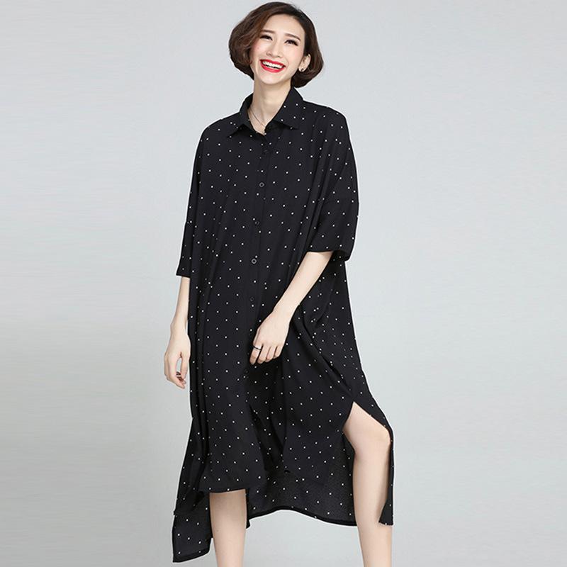 Johnature 19 Summer Plus Size Korean Wave Point Dresses Women New Turn-down Collar Half Sleeve Irregular Casual Dress 3