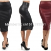 Women office skirt high-waist faux leather pencil skirt black sexy elastic below knee skirt 10 colors XS/S/M/L/XL