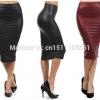 Women office skirt high-waist faux leather pencil skirt black sexy elastic below knee skirt 10 colors XS/S/M/L/XL