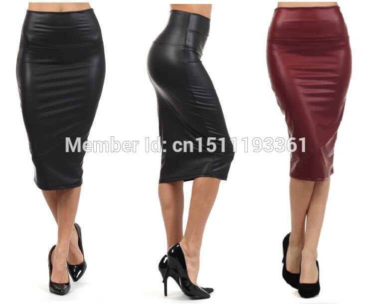 free shipping women office skirt high-waist faux leather pencil skirt black sexy elastic below knee skirt 10 colors XS/S/M/L/XL