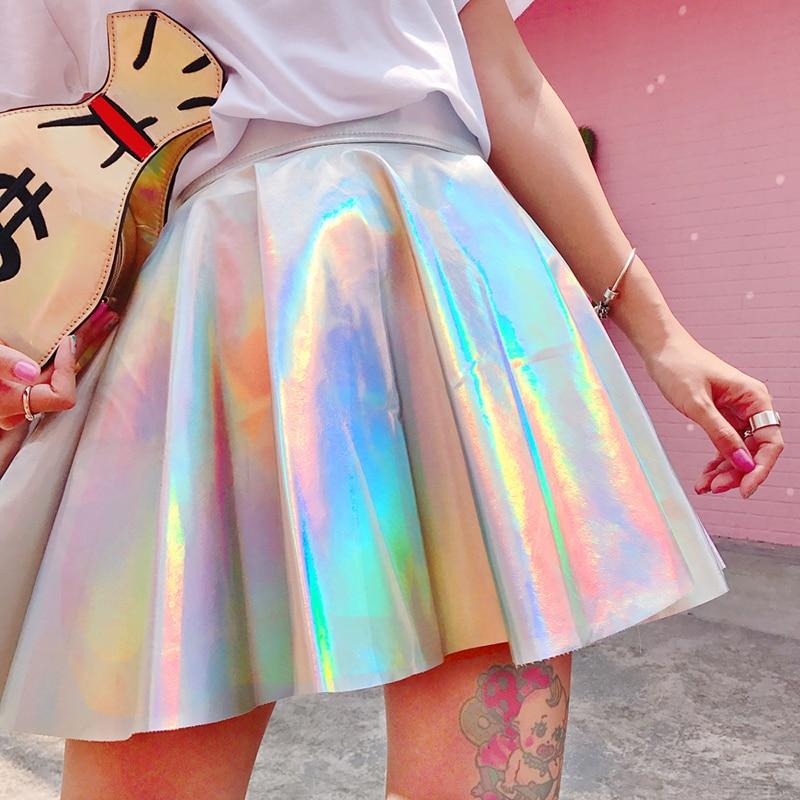 Holographic Pleated Skirts Women PU Solid Harajuku Casual Sexy Laser Hight Waist Micro Mini Short JK Skirts Women Rainbow 2