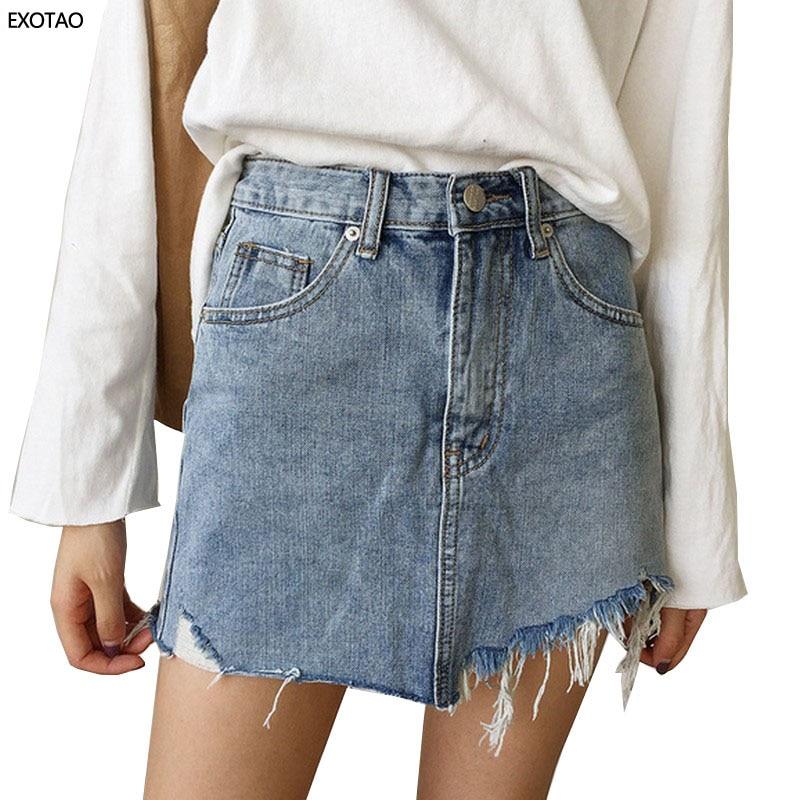 Summer Women's Skirt Short Sexy Denim Skirts Womens Irregular Brushed Hem Jean Mini Skirt Fashion Streetwear High Waist Skirt 1