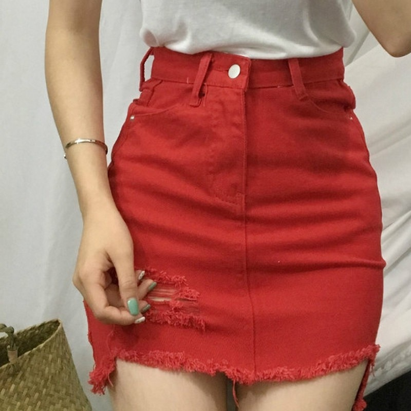 Sexy Women's Skirt Casual Korean Skirts Womens Summer Hole New Mini Skirt Women Fashion Skirts 19 White Black Denim Skirt 1