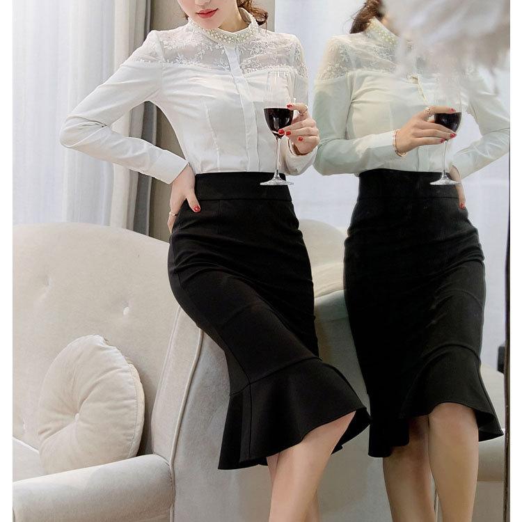 18 Women Ruffles Mermaid Skirt Female High Elastic Waist Slim Fishtail Skirts OL Formal Work Plus Size S-4XL 2