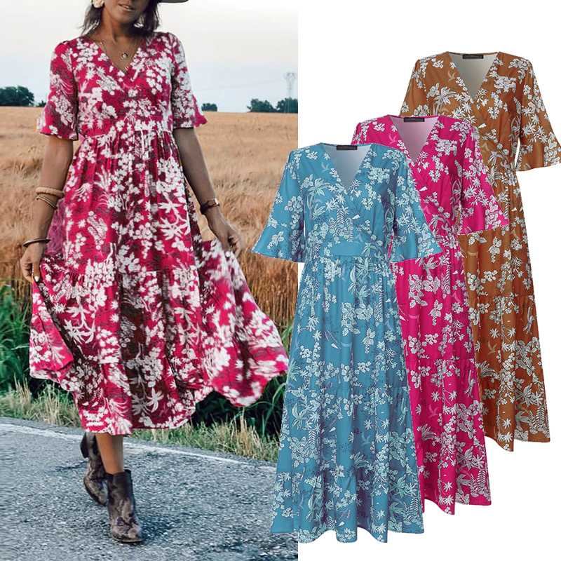ZANZEA Women Midi Dress Elegant Ladies Half Sleeve Floral Print Dresses Bohemian Mid Calf Vestidos Party Evening Summer Sundress 1