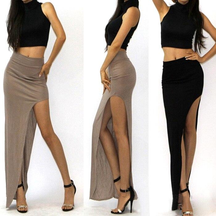 15 New Fashion summer style Skirt Sexy Women Long Skirts Lady Open Side Split Skirt Long Maxi Skirt Khaki/Black Free Size 3