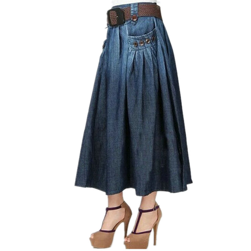 Free Shipping 19 Fashion Summer Denim All-match Loose Casual Jeans Skirt Elastic Waist Long Skirt For Women With Belt S-2XL 3