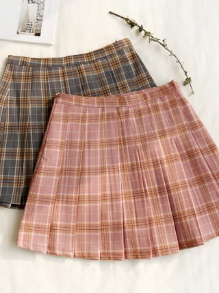 Wemon skirt Spring summer lattice Bouffancy Short skirt Paige A word skirt(Safety trousers in skirt)