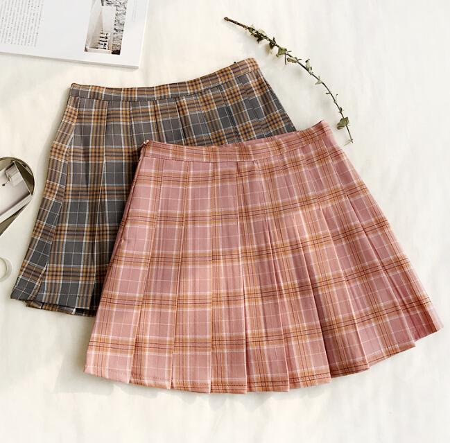 Wemon skirt Spring summer lattice Bouffancy Short skirt Paige A word skirt(Safety trousers in skirt)