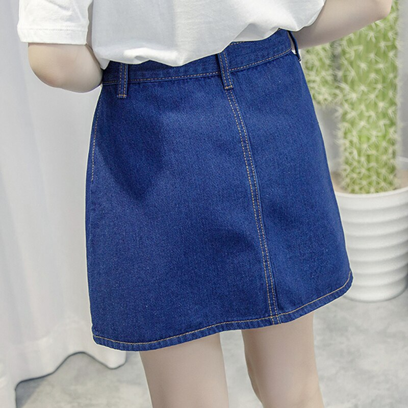 Single-breasted Denim Skirt for Women Vintage High Waist Saia Jeans Feminino Summer Faldas Mini Jupe Female Plus Size Skirts 2
