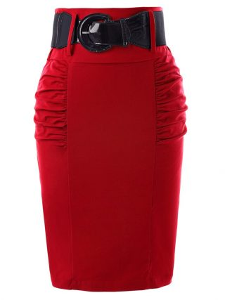 Pencil Skirts Womens Solid Black Grey Red Blue With Belt Slim High Waist Saia Bodycon Casual Office Work OL Midi Skirt Faldas