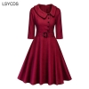 LSYCDS Autumn Winter Women Elegant Dresses Half Sleeve Peter Pan Collar 1950s Retro A-line Knee Length Big Swing Vintage Dress