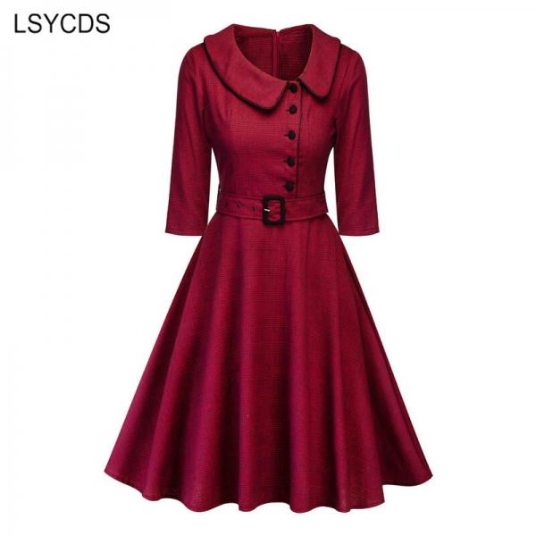 LSYCDS Autumn Winter Women Elegant Dresses Half Sleeve Peter Pan Collar 1950s Retro A-line Knee Length Big Swing Vintage Dress
