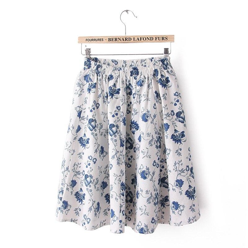 Leonyeetive 18 new Spring Summer Casual Floral Fashion linen Skirts Women Cotton Linen girl lady short Skirt 3