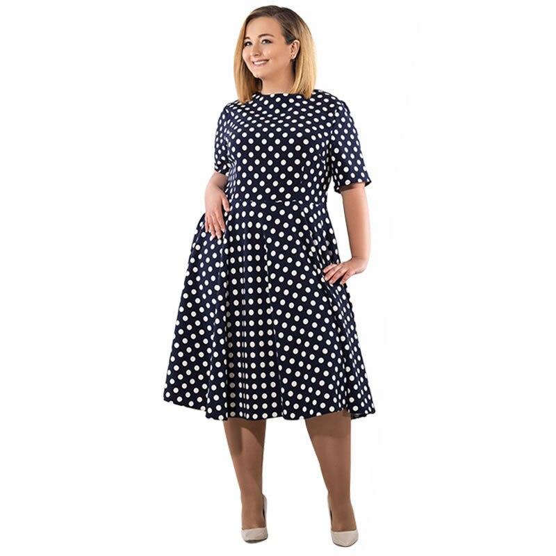 18 Women Summer Casual Dress Loose Knee Length Dresses Elegant Dots Printed Plus Size O-Neck High Waist Half Sleeve Dresses 2