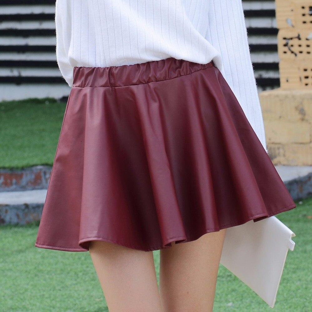 Danjeaner PU Autumn Winter Skirts Women 17 High Waist Black Slim Mini Waterproof Pleated Skirts Female Casual Leather Skirt 3
