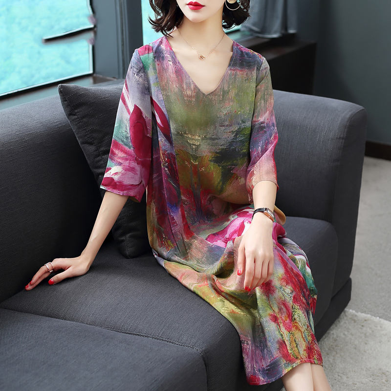 Imitate Real Silk Dress Plus Size New Spring Summer Women Dress Loose Half Sleeved Print A-line Dresses Beach Casual Clothes 1