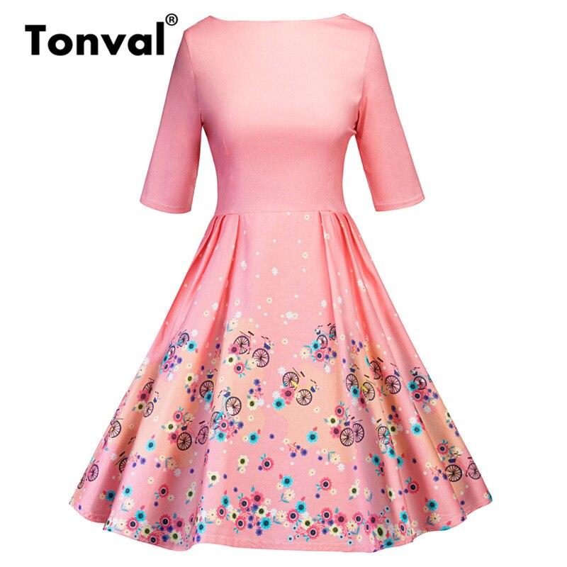 Tonval Blue Flower Print Retro Dress 18 Vintage Women Pleated Dress Summer Half Sleeve Party Backless Floral Dresses 3