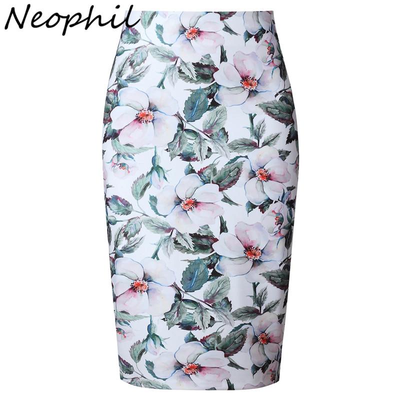 Neophil 19 Elegant Floral Print Ladies Winter Midi Pencil Skirts High Waist Fashion Plus Size Slim Bodycon Office Saia S0417 1
