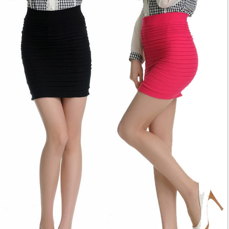 17 Fashion Women Skirts Candy Color Ladies Elastic High Waist Summer Pencil Skirts 14 Colors D001 2