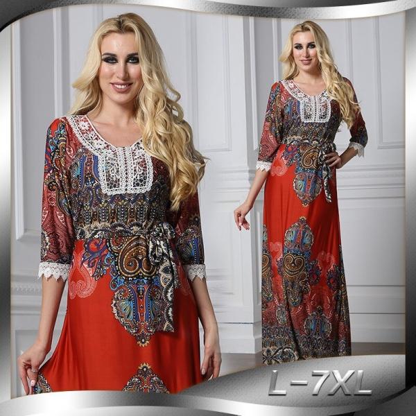 Floral Bohemian women long dress large size half sleeve maxi dress plus size lace v-neck summer dress large vestidos L-7XL