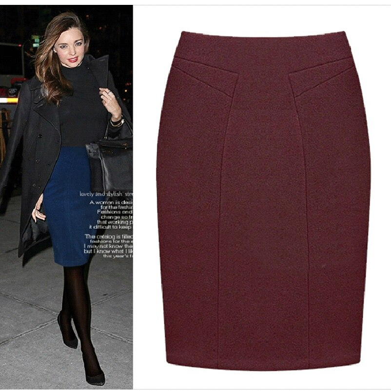 Plus Size Female Knee Length Slim Midi Skirt 19 Autumn And Winter Fashion High Waist Woolen Women Casual Pencil Skirts 3