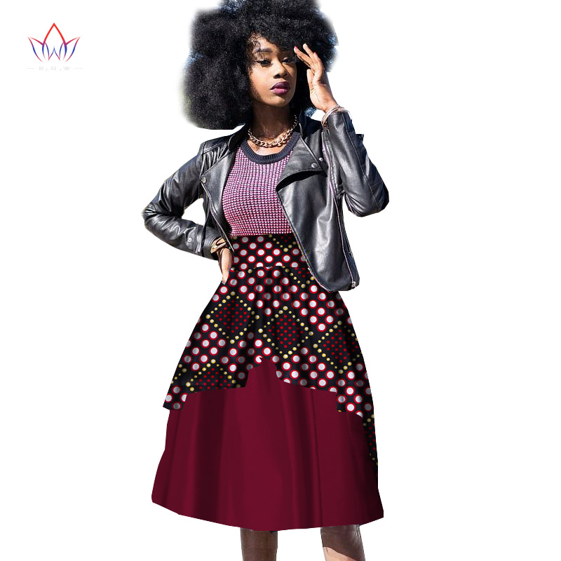 New Bazin Riche African Clothing for Women Dashiki African Wax Print Knee-Length Ball Gown Double Layer Skirt WY10