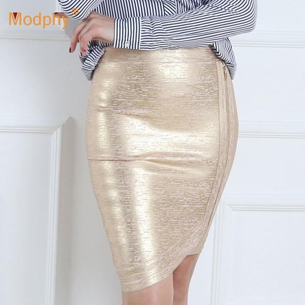 Women gold foil bandage skirts zipper asymmetric rayon spandex mini sexy bodycon pencil skirt HL for nightclub fashion HL410