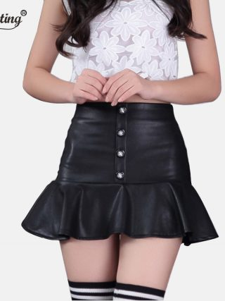 Free Shipping 19 New Autumn OL Leather Skirts,high waist skirts button special Euro Mini Skirts S-2XL