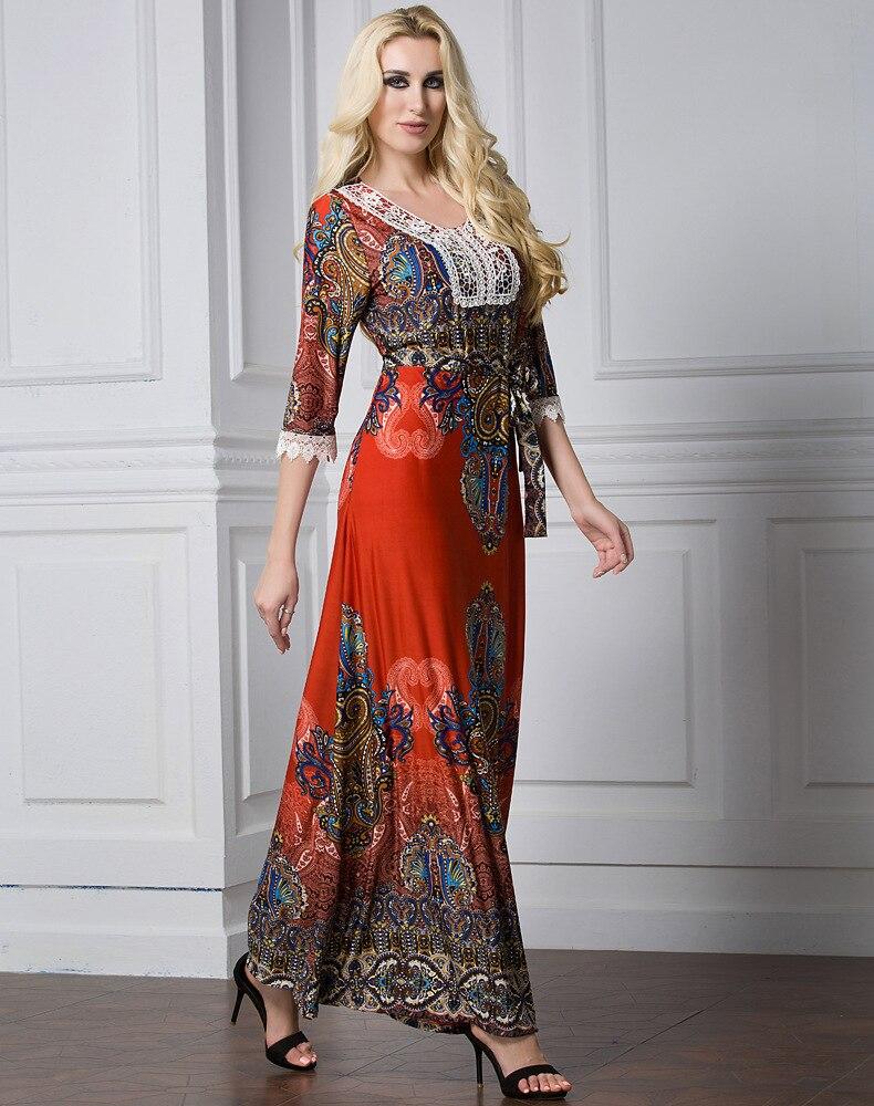Floral Bohemian women long dress large size half sleeve maxi dress plus size lace v-neck summer dress large vestidos L-7XL 2