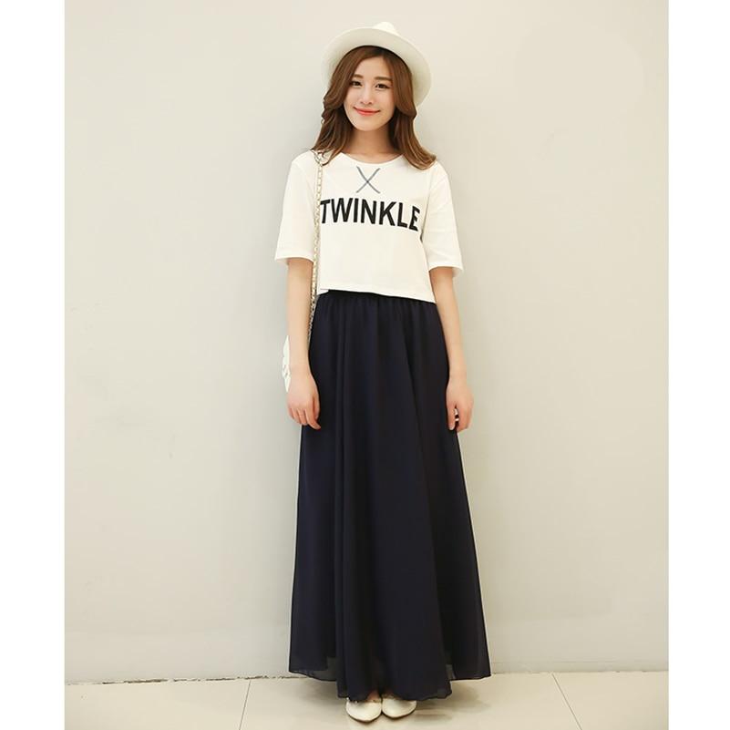SK71 Long Skirt Elegant Style Women Pastel Jupe Pleated Chiffon Maxi Skirts Floor-Length Saia Vintage Saias Womens Solid Faldas 2