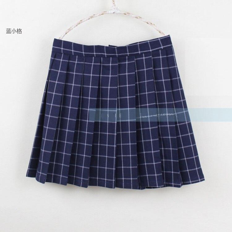 Navy blue/Gray classical Grid pleated skirts Japanese school Girls student high waist plaid pleated skirt Cosplay school uniform 2