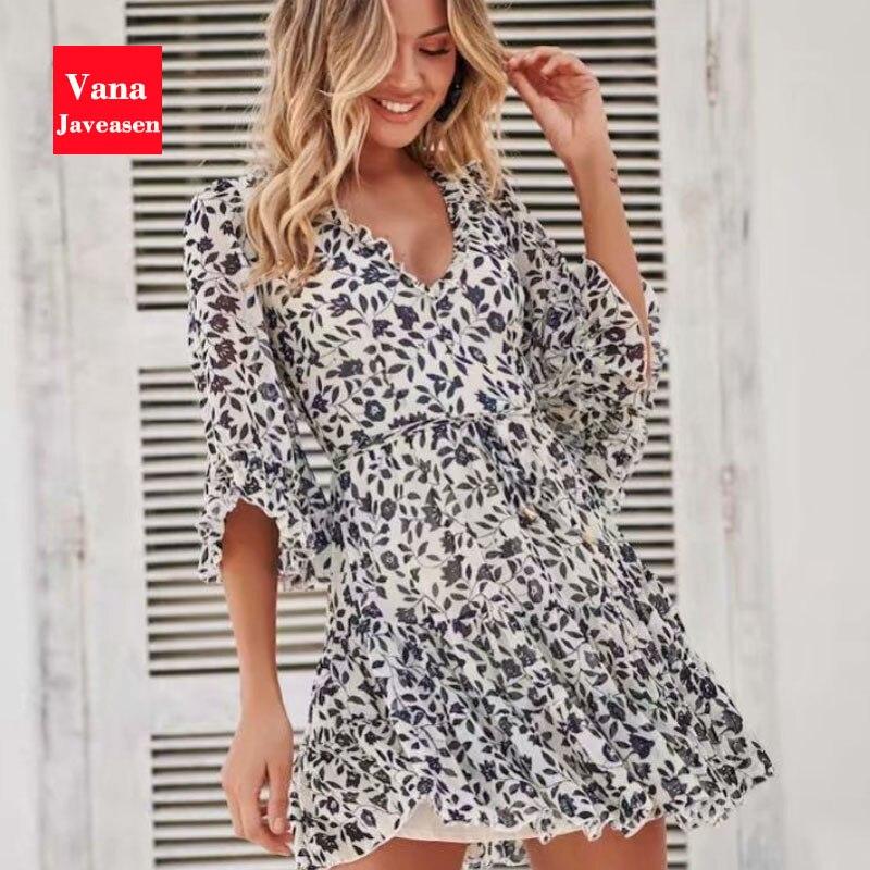 Vana Javeasen Boho Half Flare Sleeve Women Dress Summer V-Neck Ruffle A-Line Womens Dresses Bandage Backless Beach Party Dress 1