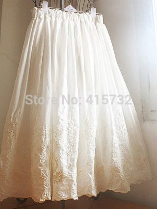 Free Shipping 19 New 100% Cotton Embroidery Flower Crochet Ivory White Women Skirt Summer Long mid-calf Elastic Waist Skirts