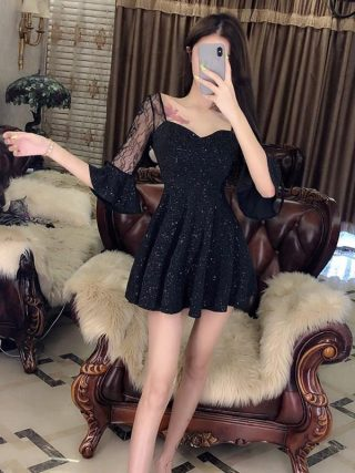 Sexy Black Half Sleeve Short Dress Party Stitching V-Neck Transparent Dress High Waist Lace Flare Sleeve A-Line Dress