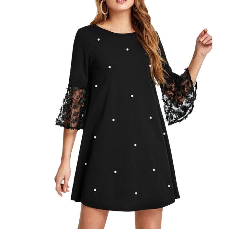 Spring Summer Women's Fashion Casual Loose Half Sleeve Elegant Dress O-Neck Polka Dot Plus Size 5XL Lace Dress vestidos 2