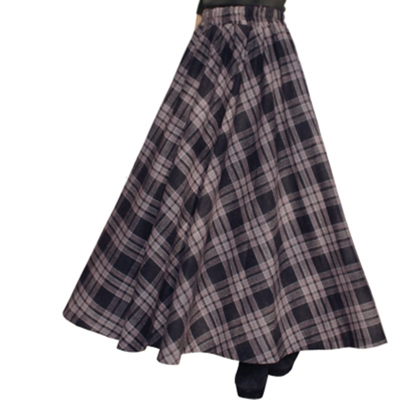 Free Shipping 19 New Fashion Long Maxi Thick A-line Skirts For Women Elastic Waist Winter Plaid Woolen Skirts Warm With Pocket 3