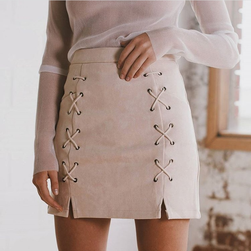 Hot Sale Lace Up Women's Suede Skirts Winter Autumn Spring Casual High Waist Pencil Skirts Mini Skirt Black Nude New Size S-XL 1