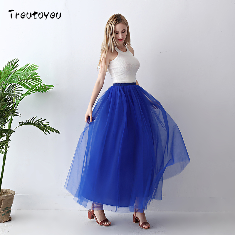 Treutoyeu 5 Layers Maxi Long Women Skirt Tulle Skirts Bridesmaid Wedding Skirt Free Size Faldas Saias Femininas Jupe 1